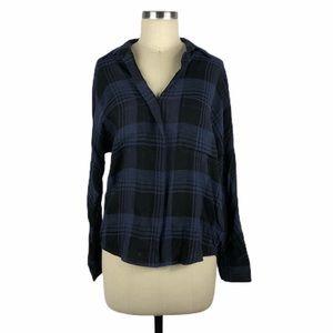 VINCE Heathered Plaid Blouse Blue Black Flannel S